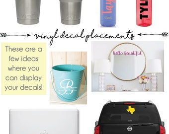 Made to Order // Personalized Vinyl Decal, Custom Monogram, Sticker, For Cups, Laptops, iPads, etc!