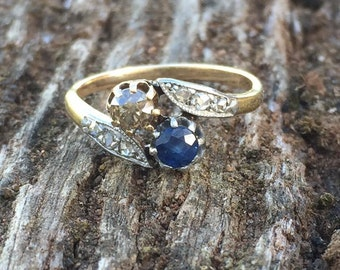 Stunning Antique Gold Sapphire & Fancy Diamond Toi et Moi Ring * SALE 30% OFF