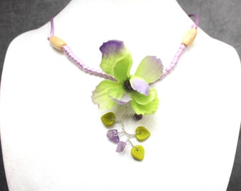 Green and purple delphinium Flower necklace