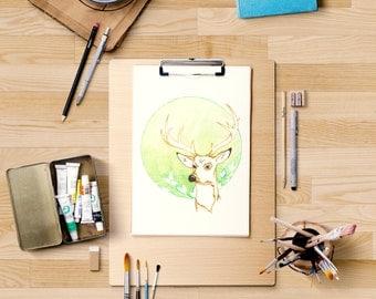 ORIGINAL watercolor painting - Deer and bush - Wall art