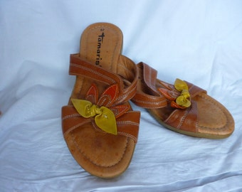 low heeled leather sandals euro size 37