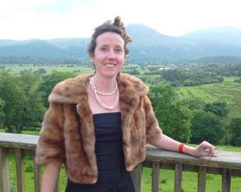 Vintage cropped blonde mink fur jacket