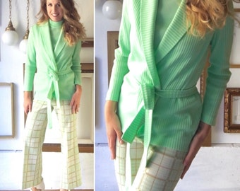 Vintage 70s Mint Tan Cream Three Piece Knit Set with Plaid Pants - Free Ship