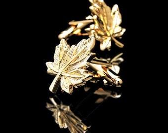 Wedding Yellow Gold leaf Cufflinks for Groom or groomsmen