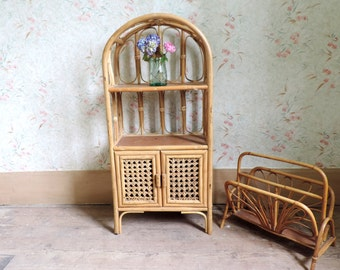 Vintage French Small Rattan Bookcase - PICK UP ONLY