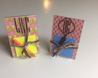 Monogramed Post-It Note Holder set-inspired by Amy Butler