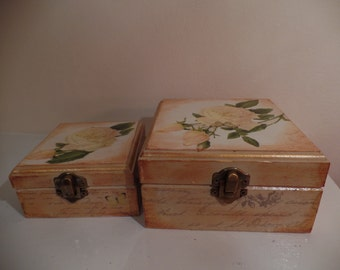 Set of Shabby chic Beautiful boxes vintage style.
