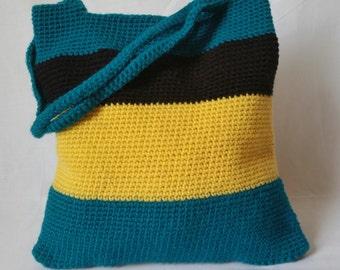 Teal Striped Crochet Bag