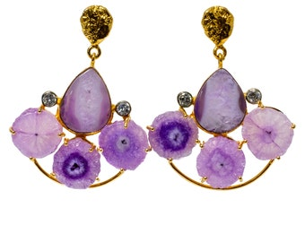 Half Moon Purple Solar Quartz Earrings