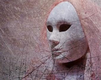 Masquerade Ball Mask Photography, Night at the Opera in Pink Grey Photography, Fantasy Art Print, Modern Decay Art, Surreal Decor