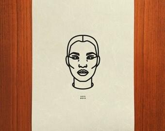 Kate Moss Outline Portrait