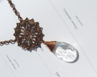 Copper Wire Wrapped Crystal Necklace // Copper and Crystal Necklace // Vintage Chandelier Crystal Necklace