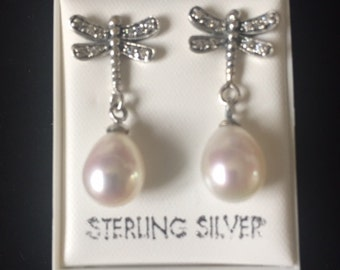sterling Silver and Pearl Dragonfly Stud Earrings with Cubic Zirconia /Birthday/Anniversary/Christmas/Wedding