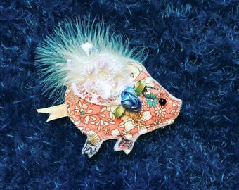 Flying Piggy Brooch