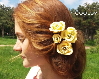 Set of 4 Hairpins yellow flower, bridal flower hair pin, wedding hair pins, cold porcelain,clay, flower in hair, hairpin spring