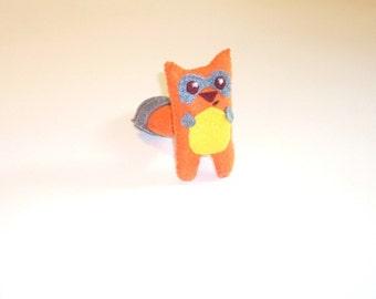 A Handmade Felt Raccoon