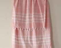 Vintage Petal Pink Woven Throw / Beach Blanket