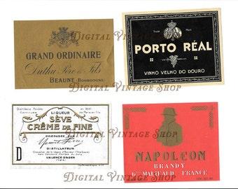 Vintage Set of French Wine Labels Collage Digital Download