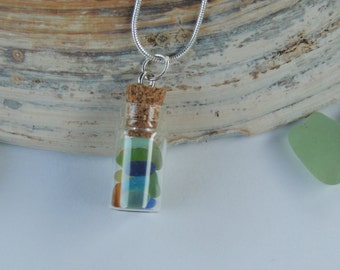 Tiny Glass Bottle with English Seaglass Necklace