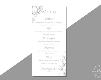 Wedding printable Menu - PDF - Menu, Botanic, flowers, grey
