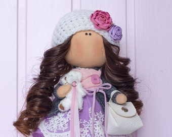 Handmade interior doll - Annabelle, a girl with a teddy. Textile fabric rag collectible doll, present, gift. Home decoration. UNIQUE item.