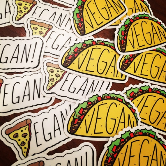 Vegan Pizza + Vegan Taco Stickers