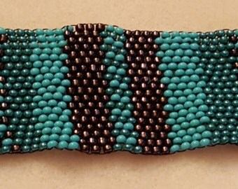 Teal/Copper Peyote Bracelet
