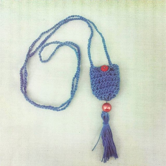 Crochet Pouch Necklace Bohemian Necklace by LexxyKrafts on ...
