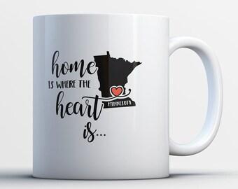 Minnesota Gift - Minnesota State Mug - Minnesotan Coffee Cup - Minnesota Map Art - Home is Where the Heart is