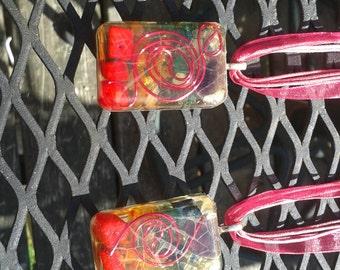 Hot Pink Front Tesla Coil Chakra Orgone Necklace