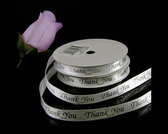 "5 Yard Roll 3/8"" White Satin Thank You Ribbon, White with Silver or Gold Text - Another Option is Celebrate Love Silver Text"
