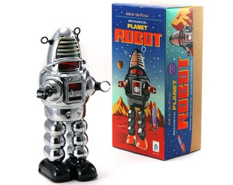 Vintage Style Collectible Wind Up Chrome Planet Robot Wind Up 8.5""