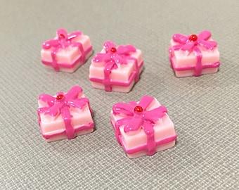 Pink Kawaii present cabochons - pink kawaii gift box cabochons