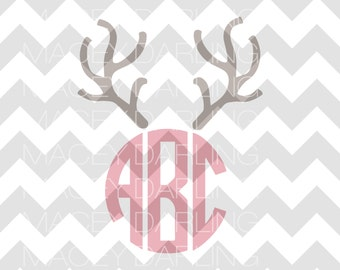 Reindeer Monogram SVG, Reindeer SVG, Reindeer Monogram SVG, Reindeer Dxf, Reindeer Monogram Cut File, Christmas Svg, Christmas Cut File, Svg
