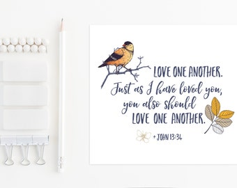 John 13:34, Printable Art, Instant Download, Christian Art, Devotional Poster, Bible Verse, John 13