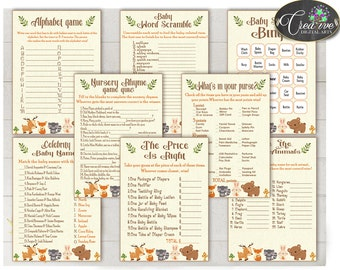 Woodland Baby Shower Games, Baby Shower Woodland Games, Forest Animals Baby Shower Prints, Baby Shower Games Woodland, pdf jpg - w0001
