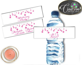 Girl Baby shower Twinkle Little Star WATER BOTTLE LABELS printable with glitter pink theme, digital files Pdf Jpg, instant download - bsg01
