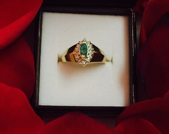 Emerald and Diamond Ring 14k Yellow Gold