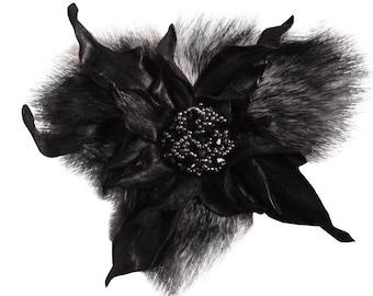 Брошь из кожи и меха Leather and fur flower brooch