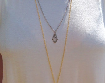 Triple strand mixed metal boho necklace
