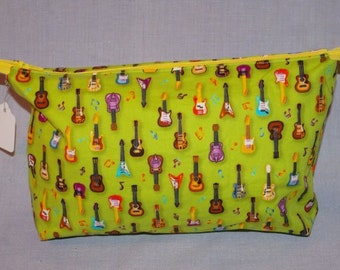 Lime green with Guitars zippered bag