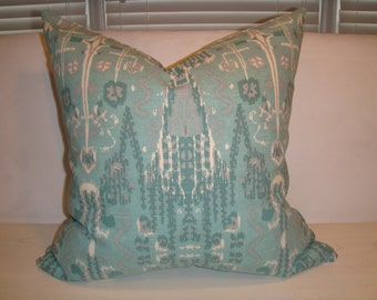 Ikat Aqua, Turquoise, Grey Ivory Pillow Cover