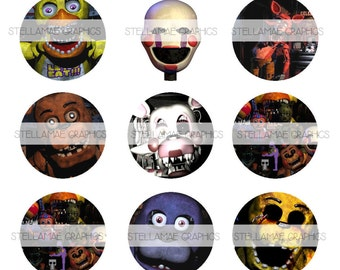 Five Nights At Freddys - 1 inch circle images, bottlecap, cupcake topper - INSTANT DOWNLOAD