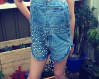 Vintage denim jean dungarees overalls romper studded studs festival hipster trend