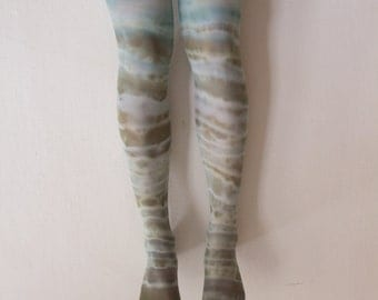 Hand-dyed green & blue tights