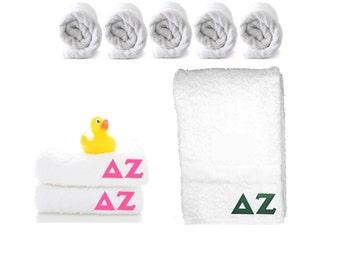Delta Zeta Bath Towel . Custom Greek Letters