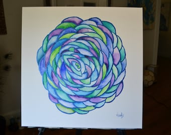 Original 20x20 Acrylic, Gouache and Watercolor Stained Glass-style Bloom