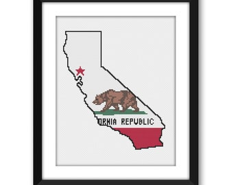 PDF - California State Flag Outline Cross Stitch Pattern