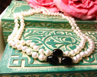 Double Strand White Pearl Necklace With Black Beads and Crystals