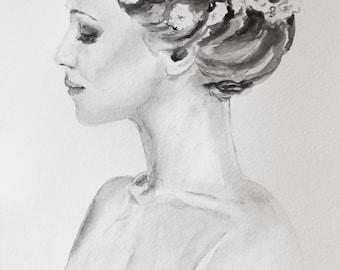 Original fashion watercolor,fashion painting,watercolor portrait,romantic wall art ,black ad white,fashion art,romantic painting,watercolor